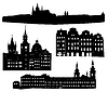 Vector clipart: Silhouettes of famous buildings and landmarks of Prague