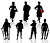 Vector clipart: Silhouettes of the actors in theatrical costumes.