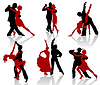 Silhouettes of the pairs dancing ballroom dances. Tango