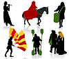 Silhouettes of people in medieval costumes