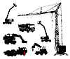 Detailed silhouettes of construction machinery