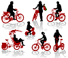 Vector clipart: Silhouettes of people and children on bicycles