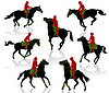 Vector clipart: Silhouettes of equestrians on horses during competition