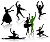 Vector clipart: Silhouettes of ballerinas and dancer in movement on w