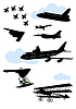 Vector clipart: Collection of silhouettes of various planes