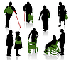 Vector clipart: Silhouettes of old and disabled people