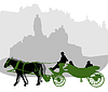Vector clipart: Silhouette of carriage in Old Town Square in Prague