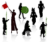 Vector clipart: Silhouettes of people in medieval costumes