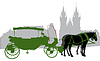 Vector clipart: Silhouette of carriage in Old Town Square in Prague.