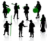 Vector clipart: Silhouettes of people in medieval costumes.