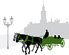 Vector clipart: Silhouette of carriage with tourists in Prague