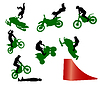 Vector clipart: Stunt show on motorcycle.