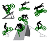 Vector clipart: Silhouette of stunt man.
