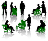 Vector clipart: Silhouettes of old and disabled people.