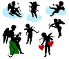 Vector clipart: Silhouettes of angels, cherubs and cupids