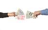 Hands holding yuan and dollar bills   Stock Foto
