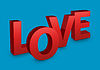 Love Text on blue background | Stock Illustration