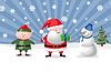 Photo 300 DPI: Santa, gnom and snow man,