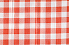 Background of natural fabric in red and white cell | Stock Foto