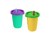 Photo 300 DPI: Two fast food paper cups with straws