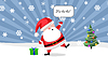 Photo 300 DPI: Santa ouside with present and Christmas tree