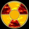 Señal de peligro de radiación en el fondo de los sistemas ecológicos | Ilustración