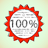 Vector clipart: Label 100 Percent.