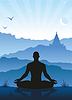 Vector clipart: Meditation in mountains