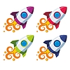 Vector clipart: Set of colourful rockets