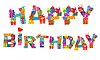 Vector clipart: happy birthday, letters made of different gifts
