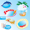 Vector clipart: summer beach frames and elements set