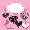 Vector clipart: holiday background with black and pink ornamental heart