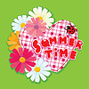 Vector clipart: Checkered Heart, ladybird and daisies on green backgr