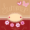 Romantic summer card with laces, butterflies and flower | Stock Vector Graphics