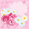 Vector clipart: Heart and daisies on pink background with butterflies