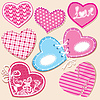 Vector clipart: Scrapbook set of hearts in stitched textile style