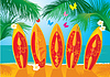 Vector clipart: Aloha - Summer Holiday Postcard - surf boards