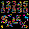 butterfly numerals, word SALE and percent symbol