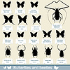 Vector clipart: silhouettes of insects - beetles and butterflies