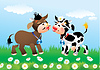 Vector clipart: Cartoon kissing cows in love