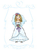 Vector clipart: wedding picture of bride, child hand drawn picture