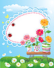 Vector clipart: Summer frame with flowers in pots and ladybirds