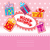 Vector clipart: baby birthday card with gift boxes