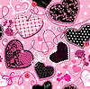 Pink and black Hearts on pink seamless background | Stock Vector Graphics