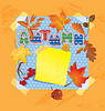 Vector clipart: Background with autumn forest leaves and word AUTUMN