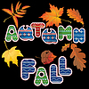 Vector clipart: Set of autumn forest leaves and words AUTUMN and