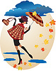 Vector clipart: English girl in checkered coat with umbrella and