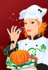 Vector clipart: Witch - chef cooking for Halloween party