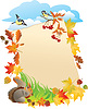 Vector clipart: background with portrait frame with Autumn Leaves