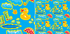 Vector clipart: seamless pattern with rubber duck and boots, clouds